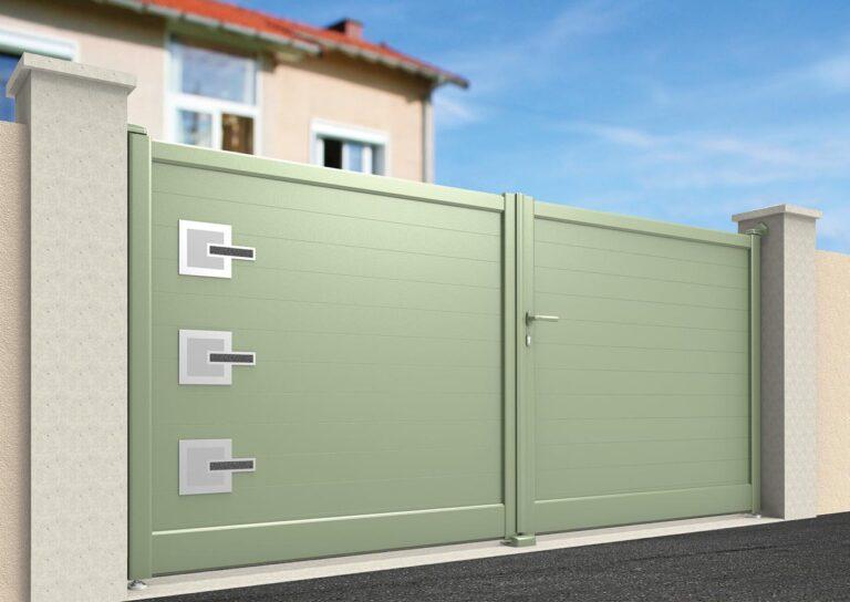 Portail battant en aluminium GANY20_B_P1 Lames verticales 200 mm + décor materia