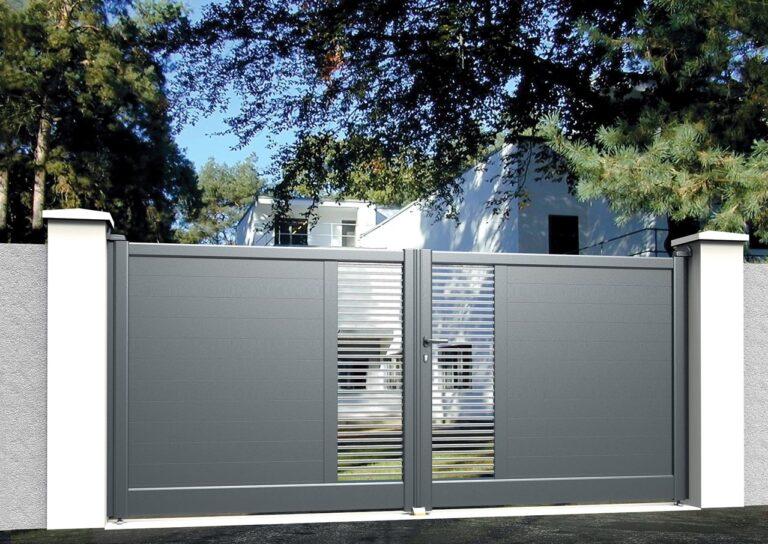 Portail battant en aluminium MAYO31_B_P1BI Lames horizontales 120 mm + barreaux inox