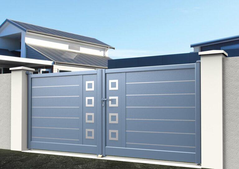 Portail battant en aluminium ORIO09_B_S2DA Lames horizontales 200 mm avec liserés + décor carrés creux
