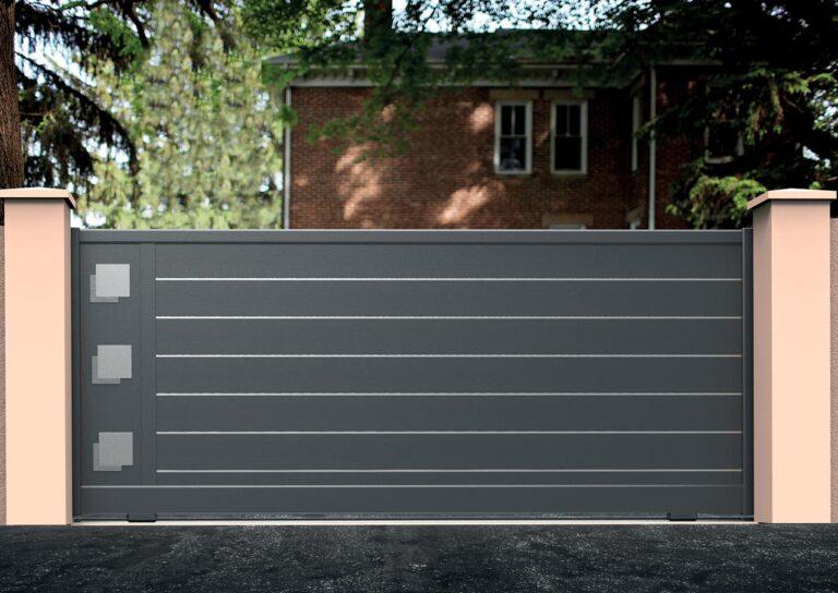 Portail battant en aluminium ORIO19_C1_S2DA Lames horizontales 200 mm + décor décalé