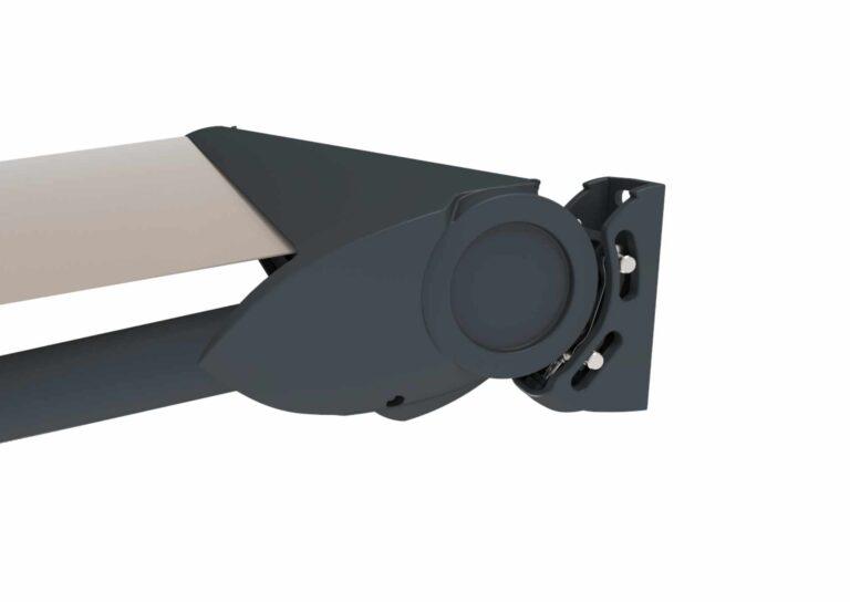 Portail battant en aluminium CAPITAN-6 La lyre intégrée permet de ne pas voir l'enroulement de la toile.