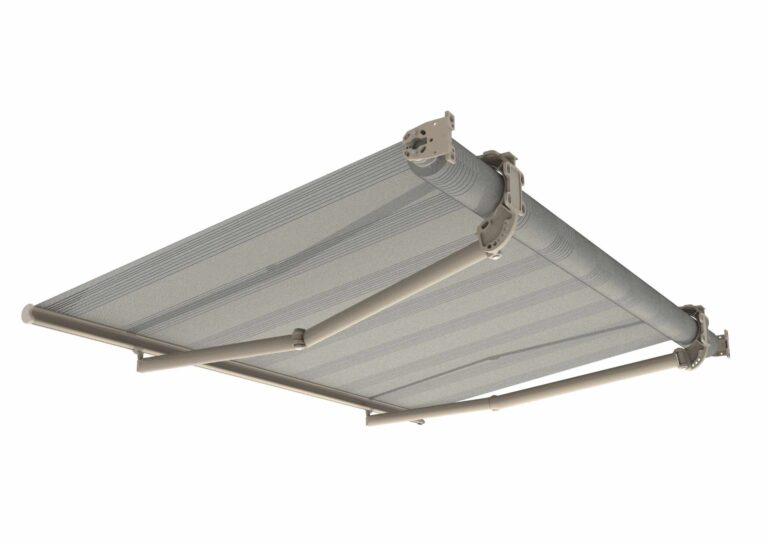Portail battant en aluminium DENALI-5 Le store pour balcons DENALI permet d'atteindre des dimensions exceptionnelles, jusqu'à 12 mètres de large et 4 mètres de profondeur.
