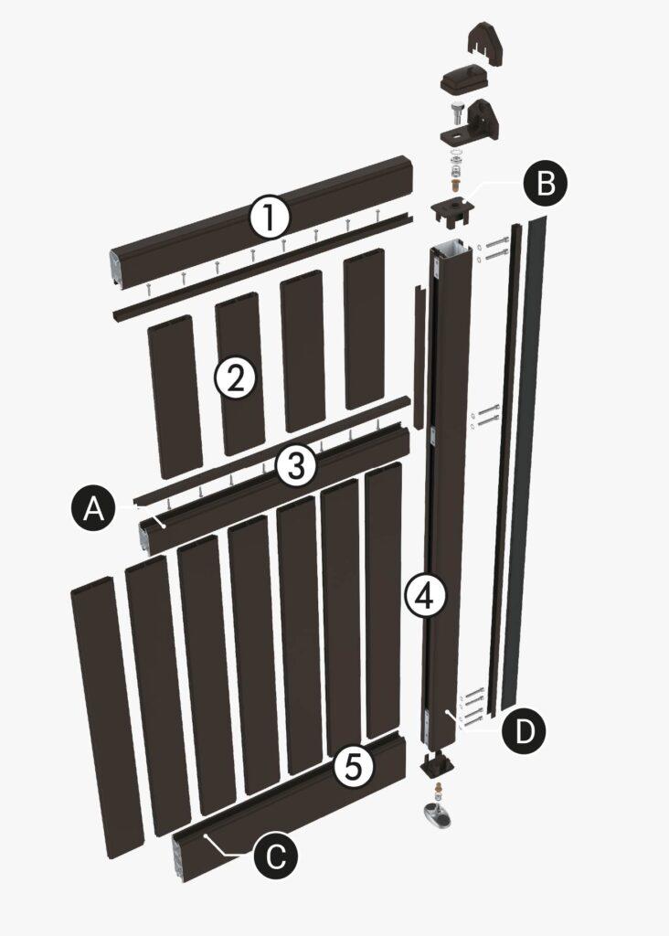 Pièces mécaniques d'un portail aluminium