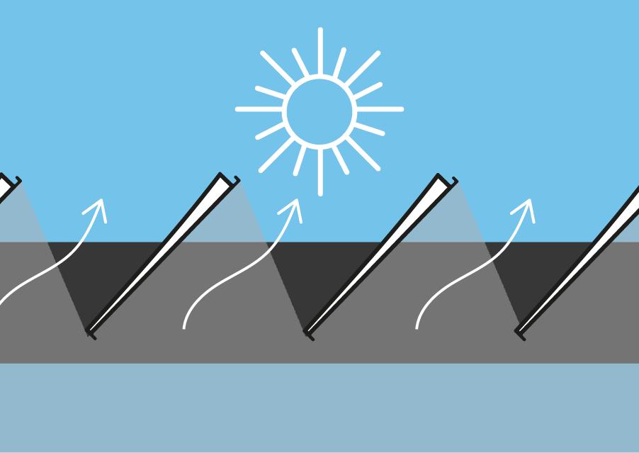 Orientation des lames de pergola bioclimatique en plein soleil d'été